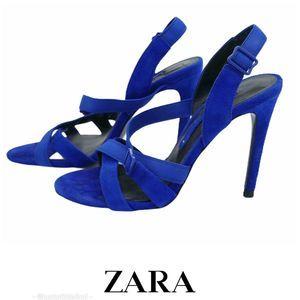 ZARA Cobalt Blue Suede Leather Strappy Sandals 6